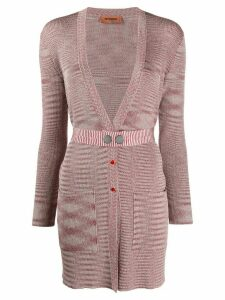 Missoni belted deep-v cardigan - Red