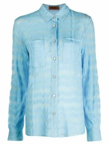 Missoni sheer zig-zag print shirt - Blue
