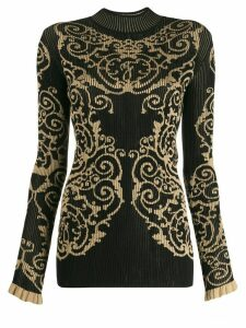 Fendi jacquard knitted jumper - Black