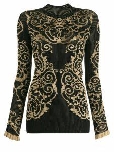 Fendi jacquard knitted jumper - Black