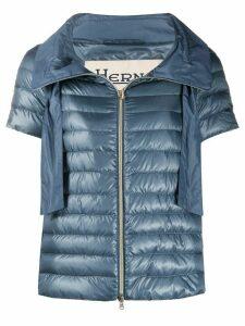 Herno short-sleeved funnel-neck puffer jacket - Blue