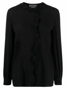 Moschino long-sleeved ruffled-neck blouse - Black