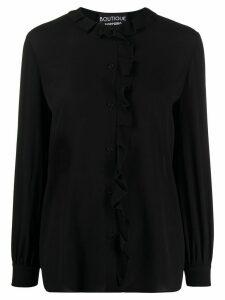 Moschino long-sleeved ruffled-neck blouse - Black