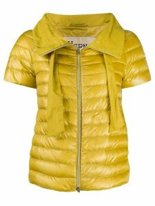 Herno short-sleeved funnel-neck puffer jacket - Yellow