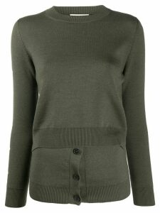Alexander McQueen layered effect crew neck jumper - Green