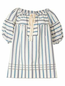Lee Mathews striped puff sleeve blouse - White