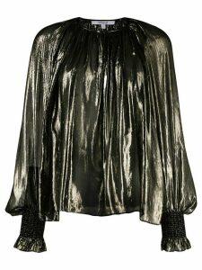 Derek Lam 10 Crosby Helena Pleated Silk Lame Blouse - Black
