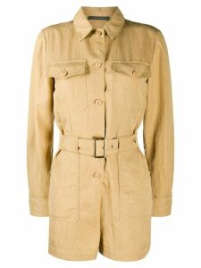 Alberta Ferretti long-sleeved belted playsuit - Brown
