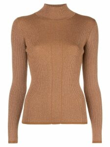 Nicholas ribbed knit turtleneck jumper - Brown