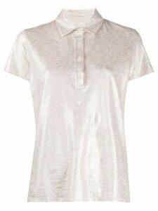 Majestic Filatures metallic marl linen blend polo shirt - PINK