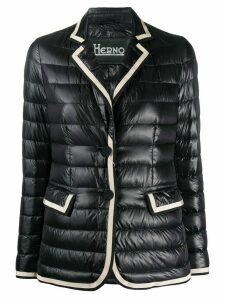 Herno contrast-trim padded blazer - Black