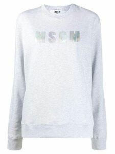 MSGM metallic logo print round neck sweatshirt - Grey