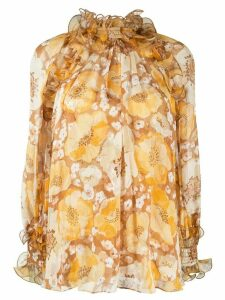 Zimmermann Super Eight floral print silk blouse - Yellow