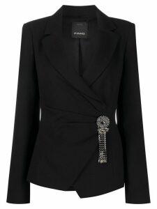 Pinko crystal detailed wrapped blazer - Black