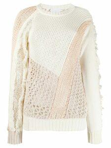 Koché panelled open-knit jumper - White