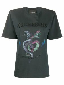John Richmond snake logo print boxy fit T-shirt - Black