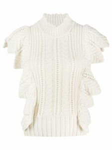 Zadig & Voltaire Fashion Show Lila ruffle-trimmed knitted top - NEUTRALS