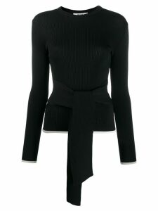 MSGM ribbed tie waist top - Black