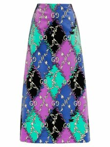Gucci GG Rhombus Ramage-print skirt - PURPLE