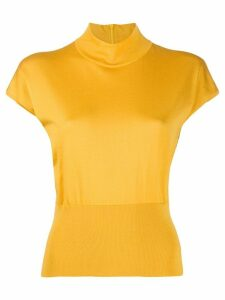 Dolce & Gabbana mock neck ribbed detail T-shirt - Yellow