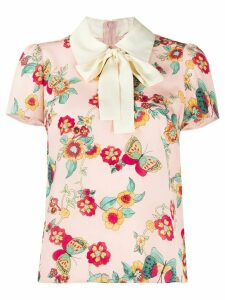 RedValentino flowers and butterflies printed blouse - PINK