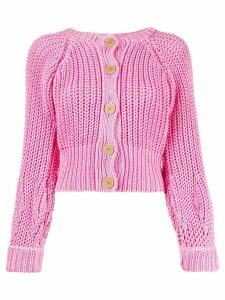 Maison Flaneur cropped cable-knit cardigan - PINK