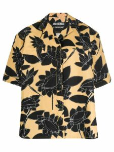 Jacquemus Black Flowers flax boyfriend shirt - Yellow