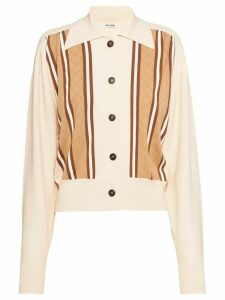 Miu Miu striped knitted cardigan - NEUTRALS