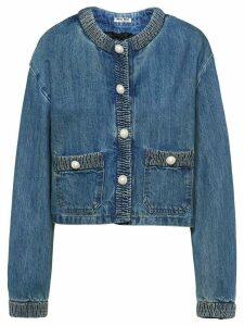 Miu Miu pearl-embellished cropped denim jacket - Blue