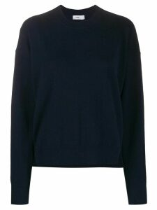 Closed loose-fit crew neck jumper - Blue