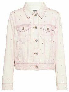 Miu Miu bleached denim jacket - PINK