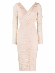 Dolce & Gabbana ruched wrap midi dress - PINK