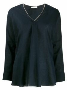 Fabiana Filippi studded collar kaftan top - Blue