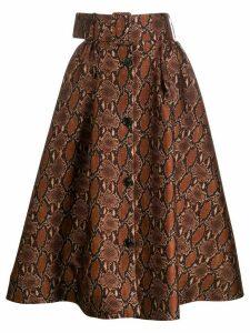 MSGM snakeskin-print full skirt - Brown