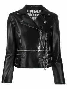 Ermanno Scervino cropped zip up biker jacket - Black