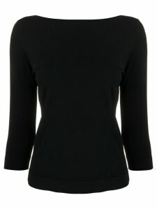Roberto Collina boat neck blouse - Black