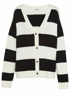 Miu Miu cat embroidery striped cardigan - Black