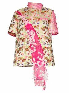 Shuting Qiu contrast panel floral-print jacquard shirt - PINK
