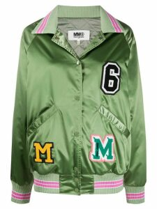 Mm6 Maison Margiela logo patch satin jacket - Green