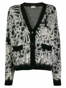 Saint Laurent fluffy knit cardigan - Black