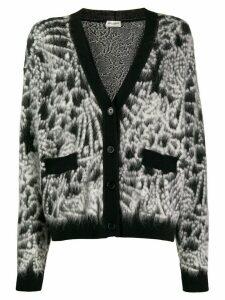 Saint Laurent fluffy knit cardigan - Black