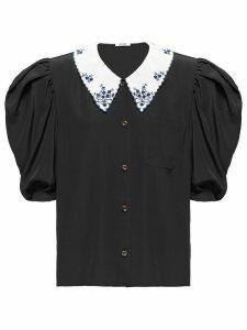 Miu Miu puff-sleeves silk shirt - Black