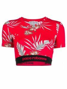 Paco Rabanne floral print crop top - Red