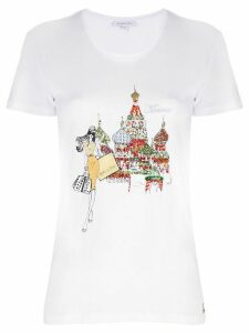 Patrizia Pepe Moscow-embroidery cotton T-shirt - White