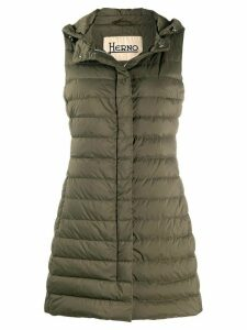 Herno hooded quilted mid-length gilet - Green