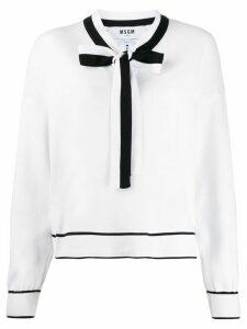 MSGM tie-neck jumper - White