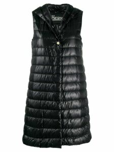 Herno hooded quilted mid-length gilet - Black