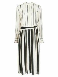 Alysi striped silk shirt dress - White