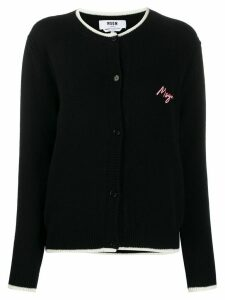 MSGM trimmed logo patch cardigan - Black