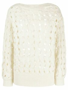 Calvin Klein chunky knit cut-out detail jumper - NEUTRALS